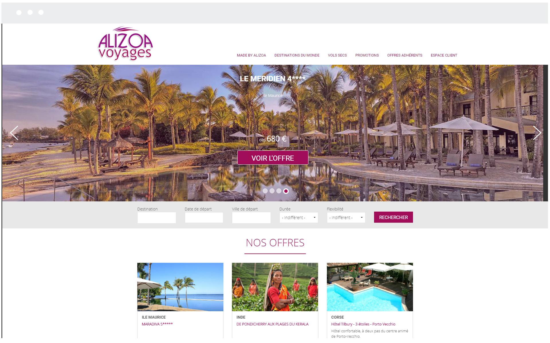 Alizoa Voyages - Réalisation de SpeedMedia Services