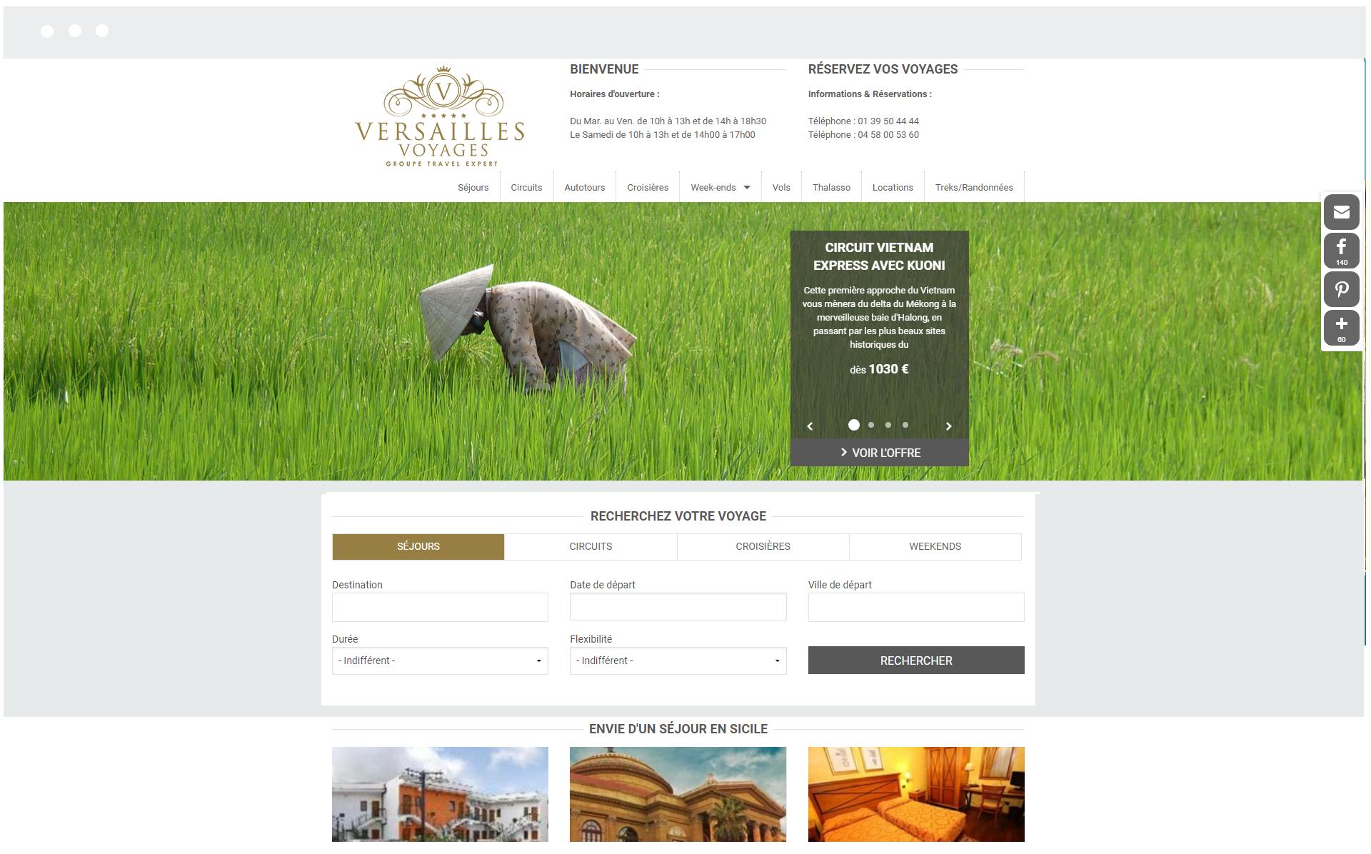 Versailles Voyages - Réalisation de SpeedMedia Services