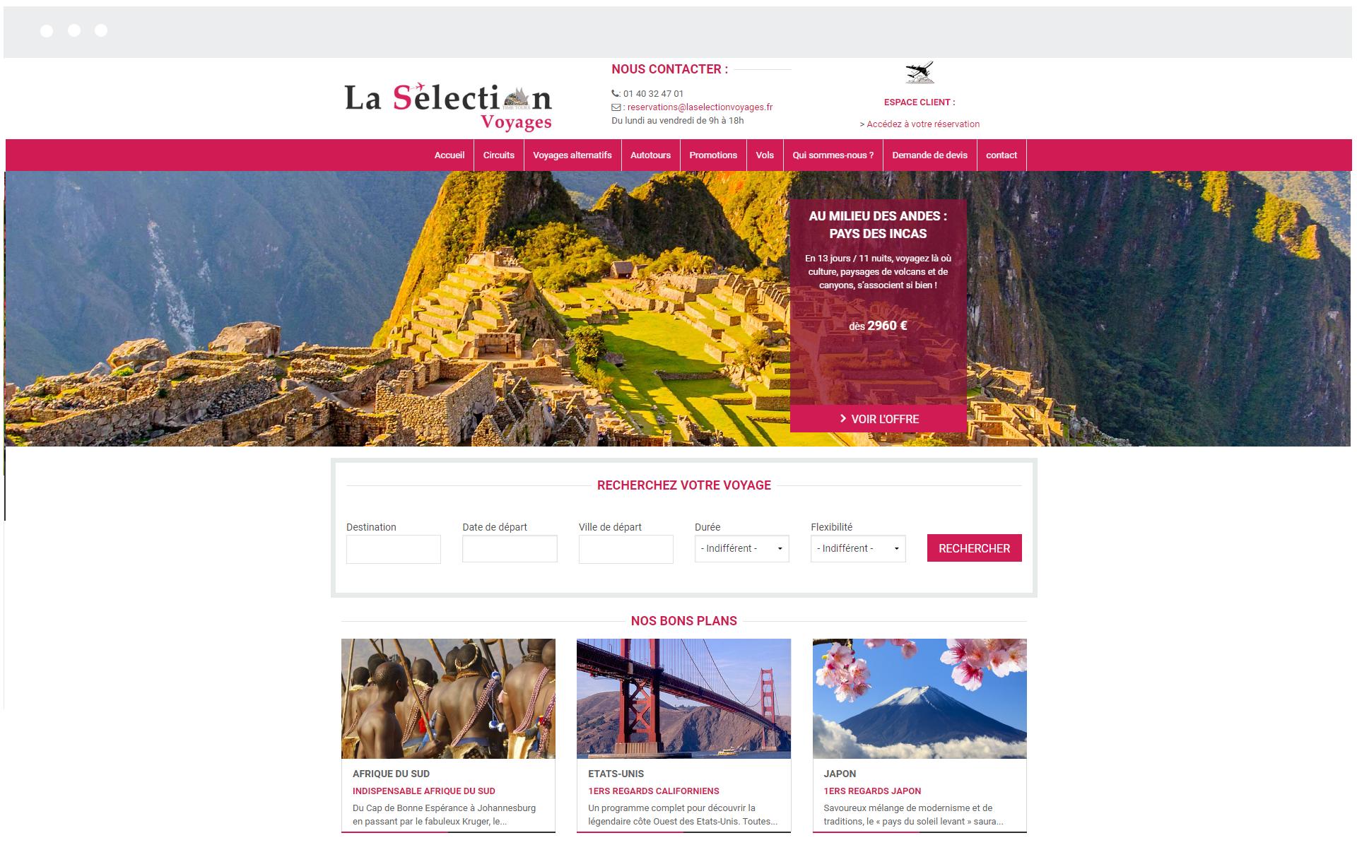 La Sélection Voyages - Réalisation de SpeedMedia Services